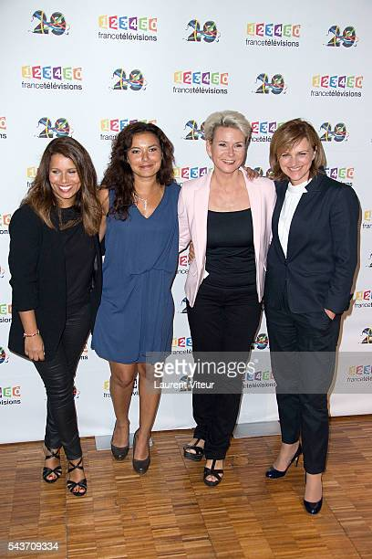 Tania Young Anais Baydemir Nathalie Rihouet and Valerie Maurice attend the 'Rendezvous du 29' Photocall at France Television on June 29 2016 in Paris...