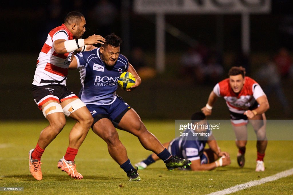 Taniela Tupou of Queensland is tackled during the NRC Grand Final match between Canberra and Queensland Country at Viking Park on November 11, 2017 in Canberra, Australia.
