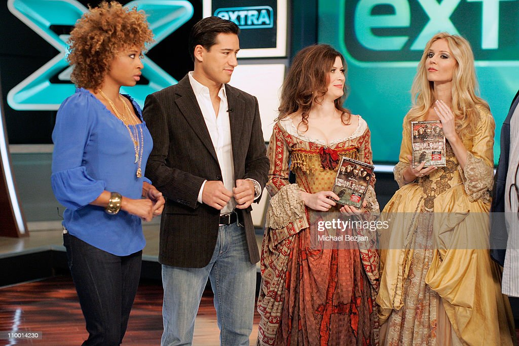 Tanika Ray, Mario Lopez, Lauren Maher and Vanessa Branch on-air at the Pirates of the Caribbean Wenches Appearance on EXTRA at EXTRA studios on December 6, 2007 in Burbank, California.