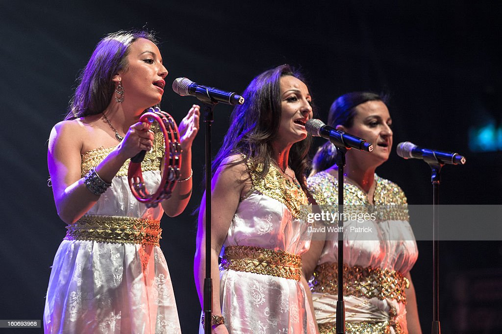 Tanina Cheriet ( l ) performs with her father Idir at L'Olympia on February 4, 2013 in Paris, France.