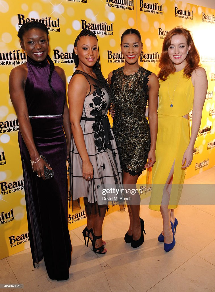 Tanisha Spring, Tanya Nicole-Edwards, Lucy St Louis and Vivien Carter attend an after party following the press night performance of 'Beautiful: The Carole King Musical', playing at the Aldwych Theatre, at the Somerset House on February 24, 2015 in London, England.