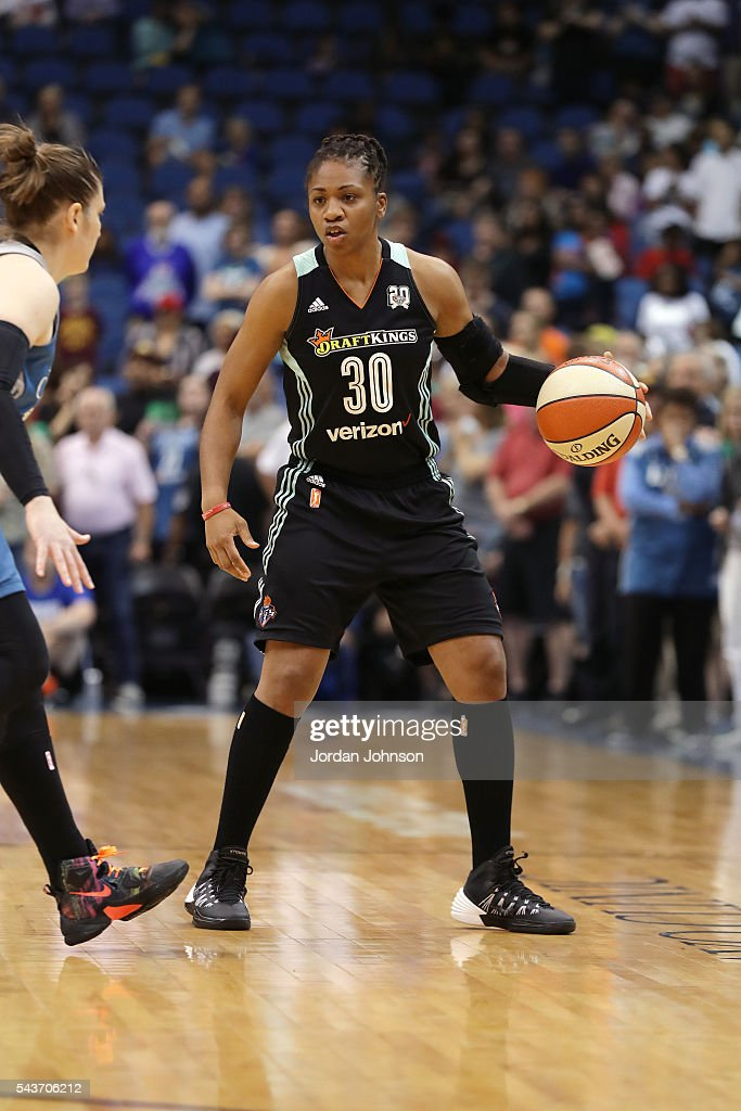 <a gi-track='captionPersonalityLinkClicked' href=/galleries/search?phrase=Tanisha+Wright&family=editorial&specificpeople=541423 ng-click='$event.stopPropagation()'>Tanisha Wright</a> #30 of the New York Liberty handles the ball during the game against the Minnesota Lynx during the WNBA game on June 29, 2016 at Target Center in Minneapolis, Minnesota.