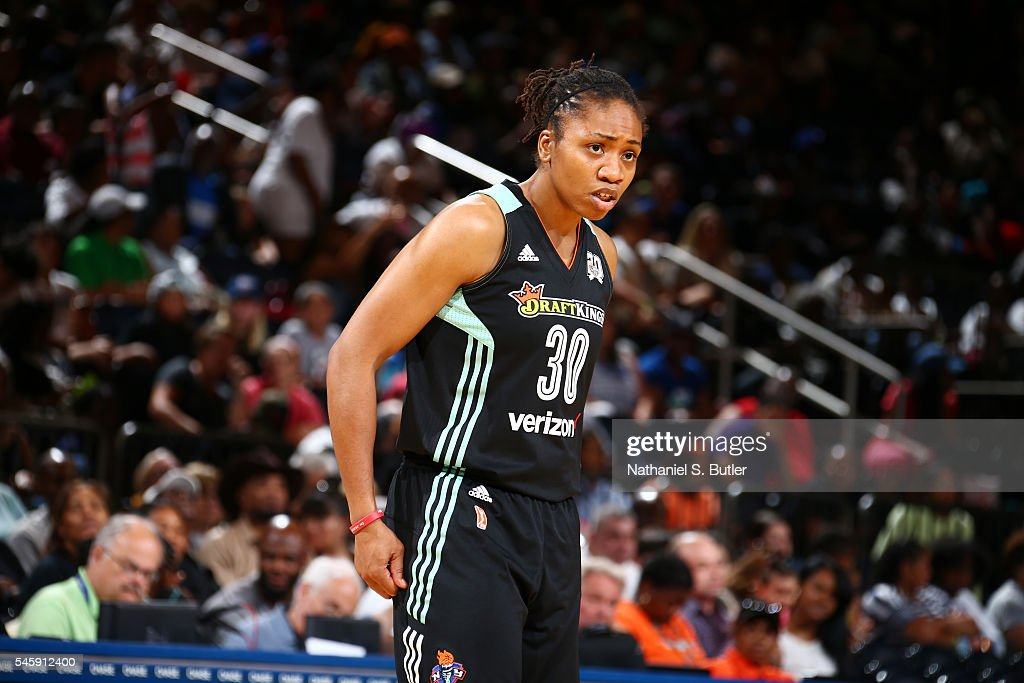 Tanisha Wright #30 of the New York Liberty reacts to a play against the San Antonio Stars on July 10, 2016 at Madison Square Garden in New York, New York.