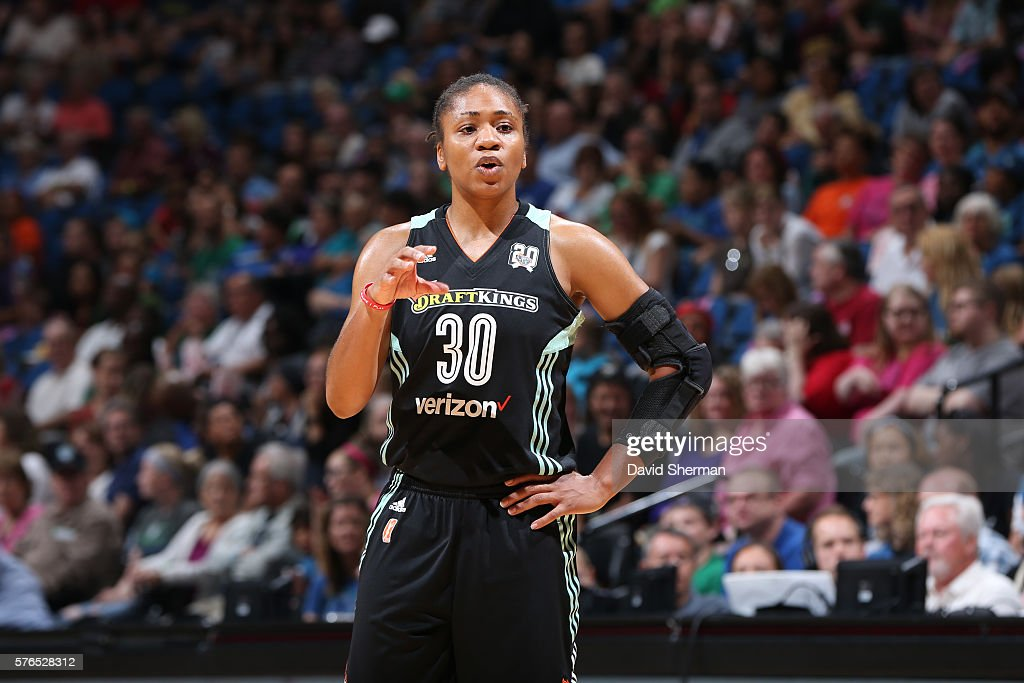 Tanisha Wright #30 of the New York Liberty reacts to a play against the Minnesota Lynx on July 15, 2016 at Target Center in Minneapolis, Minnesota.