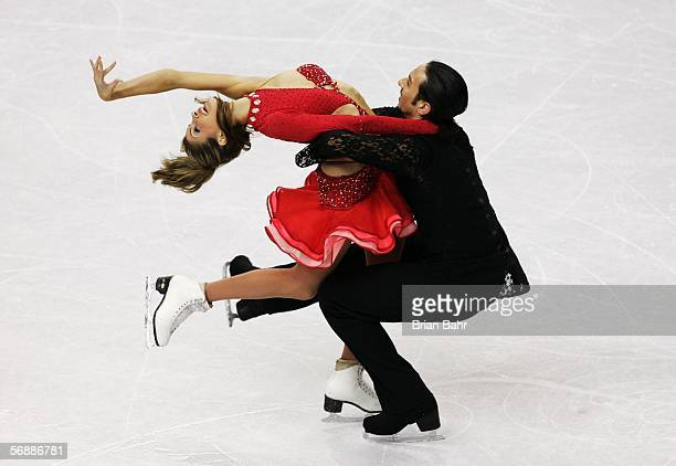 Tanith Belbin and Benjamin Agosto of the United States celebrate after their performance in the Original Dance program of the figure skating during...