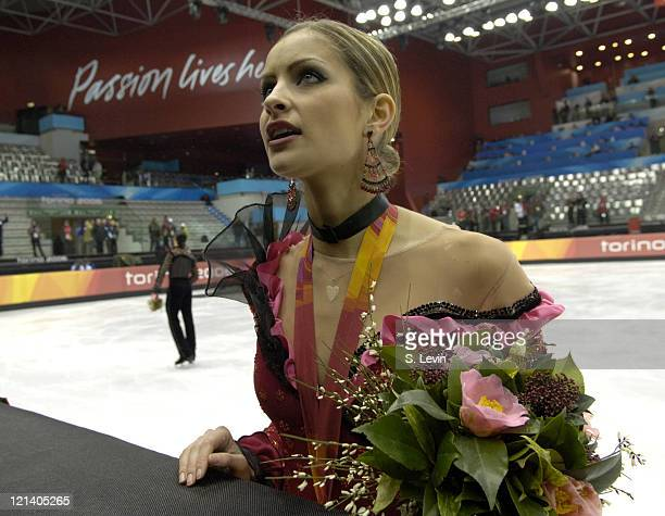 Tanith Belbin of the United States during the Ice Dancing Free Skate Program at the 2006 Olympic Games at the Palavela in Torino Italy on February 20...