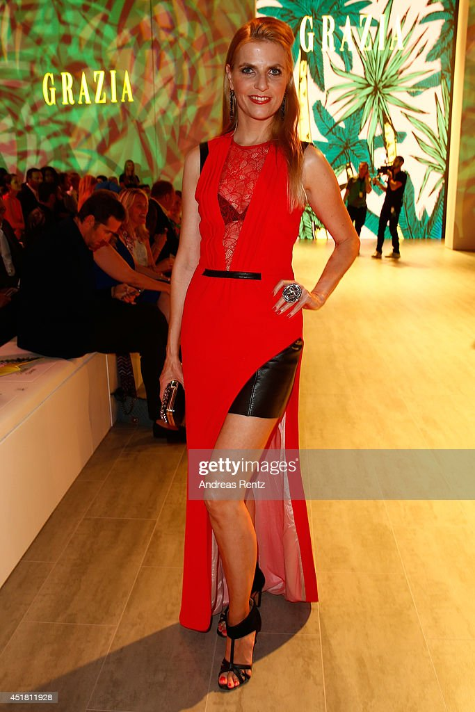 Tanja Buelter arrives for the Opening Night by Grazia fashion show during the Mercedes-Benz Fashion Week Spring/Summer 2015 at Erika Hess Eisstadion on July 7, 2014 in Berlin, Germany.