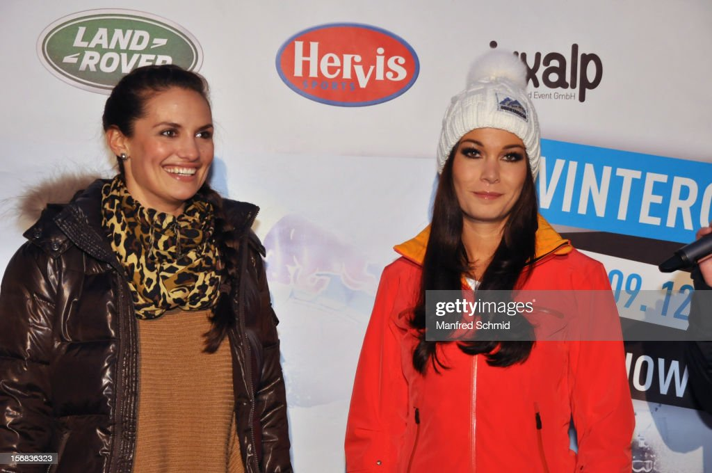 Tanja Duhovich and Carmen Stamboli attend the Swatch Snow Mobile 2012 press conference at Graben on November 22, 2012 in Vienna, Austria.