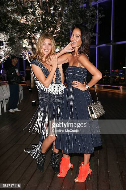 Tanja Gacic and Lindy Klim attend the Dion Lee show at MercedesBenz Fashion Week Resort 17 Collections at Bloomberg Building on May 16 2016 in Sydney...