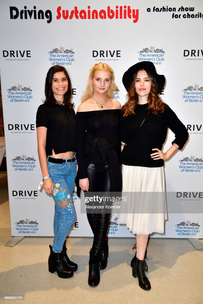 Tanja Lehmann, Anna Hiltrop and Marielena Krewer arrive for the American Women's Club And Esmod Charity Fashion Show at DRIVE. Volkswagen Group Forum on October 12, 2017 in Berlin, Germany.