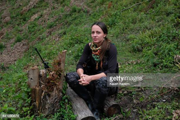 Tanja Nijmeijer a Dutch national with nom de guerre of Alexandra Nariño who joined FARC in 2002 poses for photos dressed in military fatigue and her...