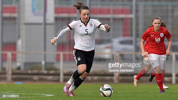 Tanja Pawollek of Germany runs with the ball during the U17 girl's international friendly match between Germany and England on December 15 2015 in...
