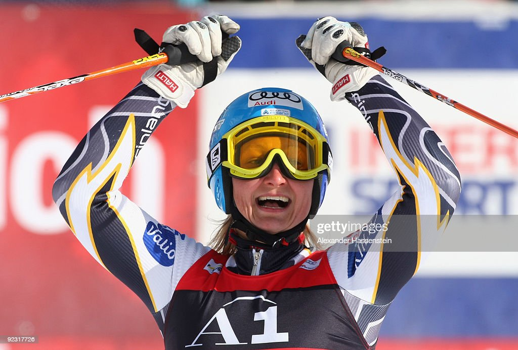Tanja Poutiainen of Finland celebrates after winning the Women's giant slalom event of the Woman's Alpine Skiing FIS World Cup at the...