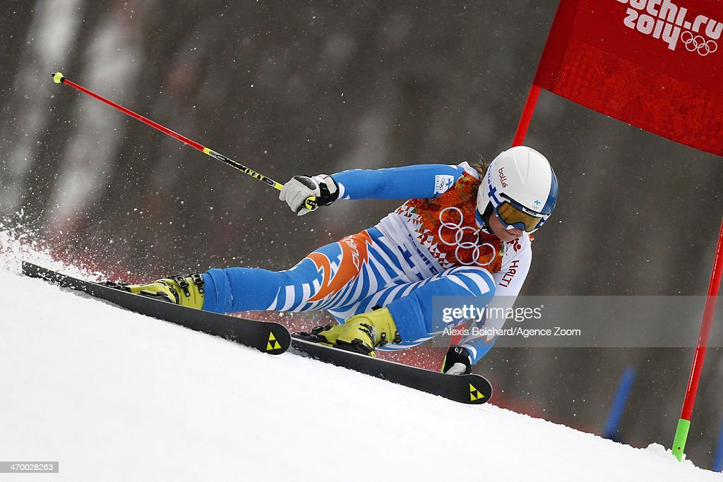 Tanja Poutiainen of Finland competes during the Alpine Skiing Women's Giant Slalom at the Sochi 2014 Winter Olympic Games at Rosa Khutor Alpine...