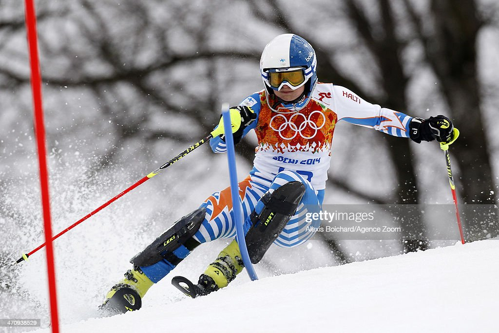 Tanja Poutiainen of Finland competes during the Alpine Skiing Women's Slalom at the Sochi 2014 Winter Olympic Games at Rosa Khutor Alpine Centre on...