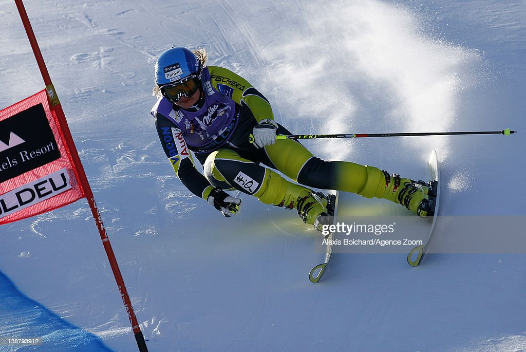 Tanja Poutiainen of Finland competes during the Audi FIS Alpine Ski World Cup Women's Giant Slalom on February 12 2012 in Soldeu Andorra