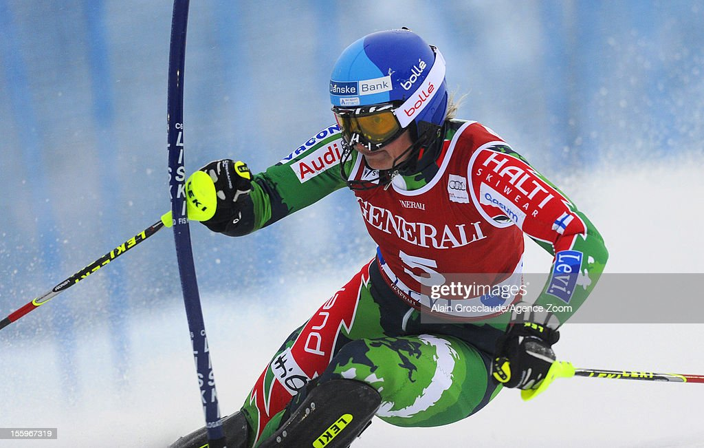 Tanja Poutiainen of Finland competes during the Audi FIS Alpine Ski World Cup Women's Slalom on November 10, 2012 in Levi, Finland.
