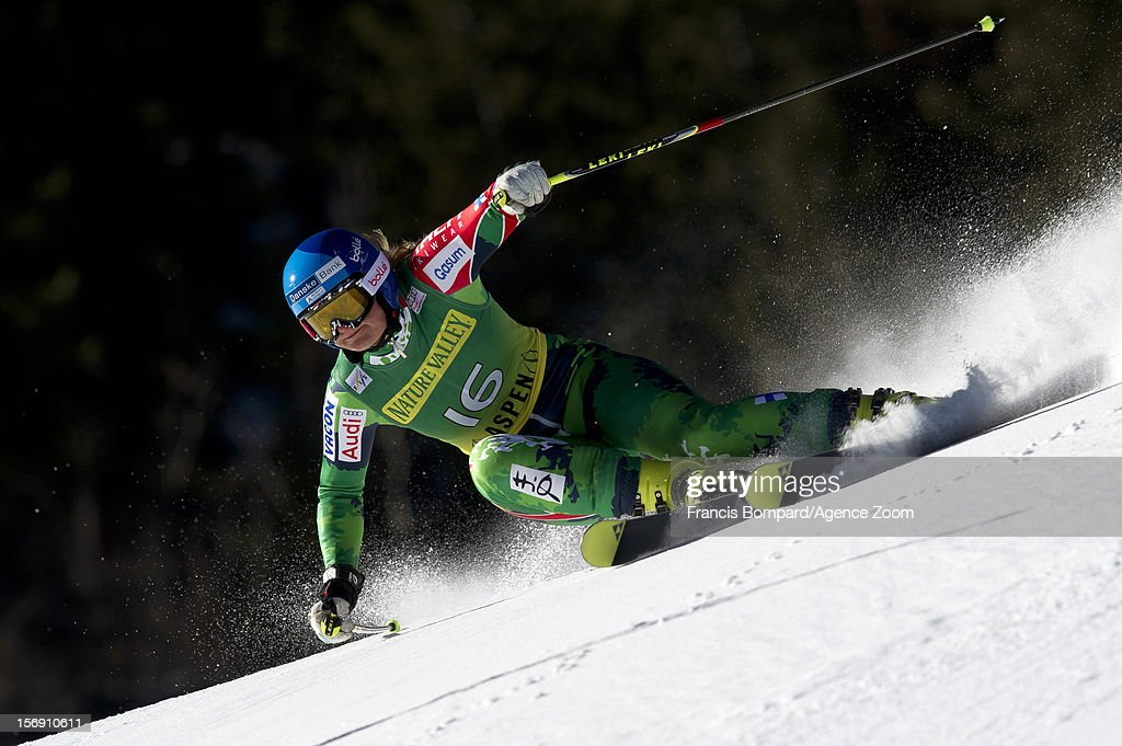 Tanja Poutiainen of Finland competes during the Audi FIS Alpine Ski World Cup Women's Giant Slalom on November 24, 2012 in Aspen, Colorado.