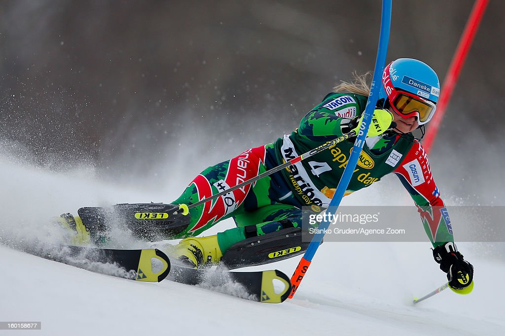 Tanja Poutiainen of Finland competes during the Audi FIS Alpine Ski World Cup Women's Slalom on January 27 2013 in Maribor Slovenia