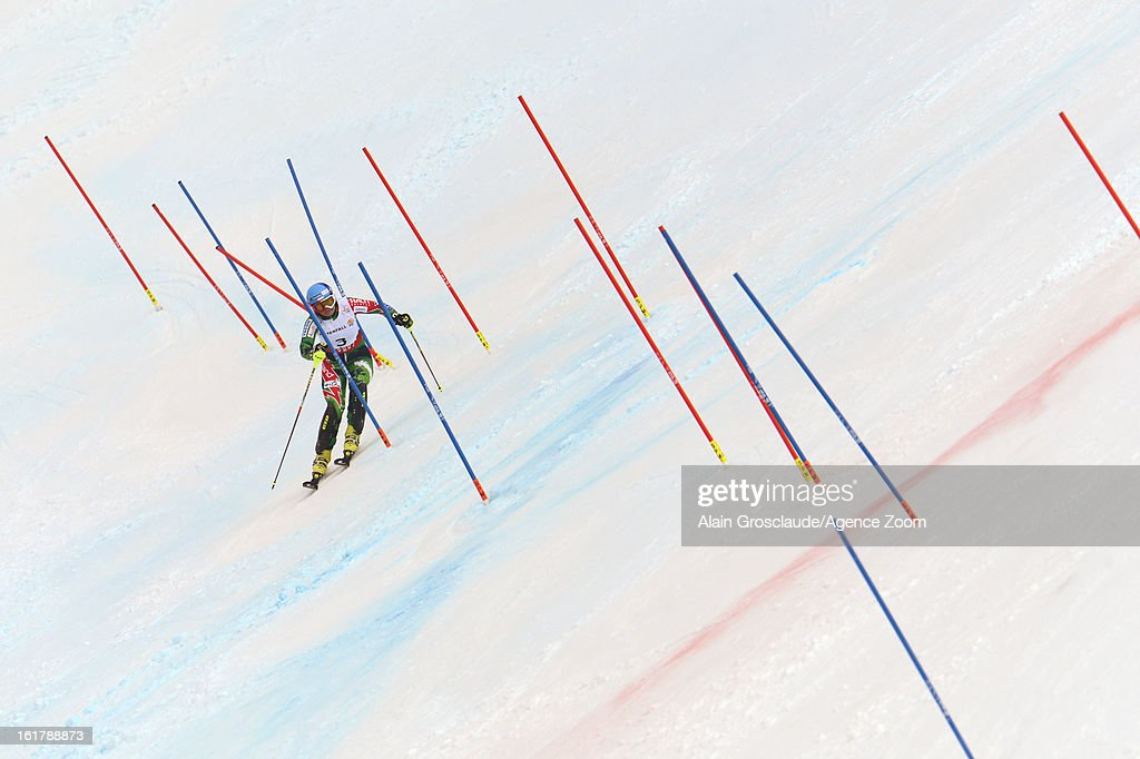 Tanja Poutiainen of Finland competes during the Audi FIS Alpine Ski World Championships Women's Slalom on February 16 2013 in Schladming Austria