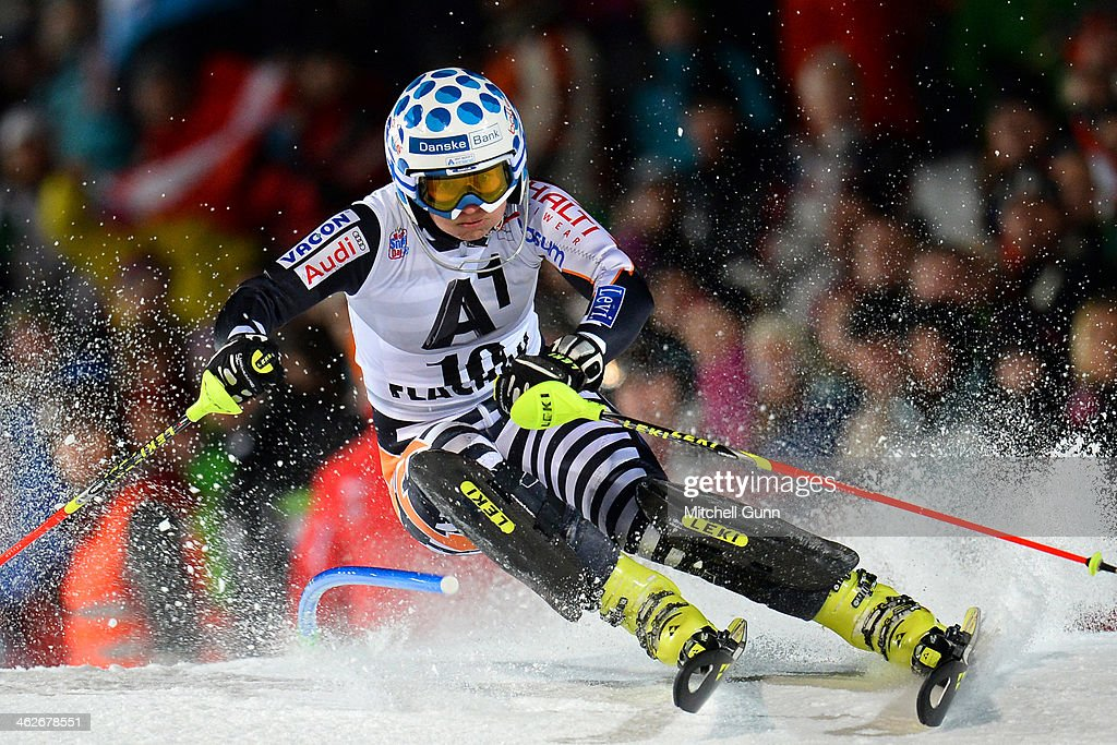 Tanja Poutiainen of Finland competes during the FIS Alpine Ski World Cup Women's race on January 14 2014 in Flachau Austria