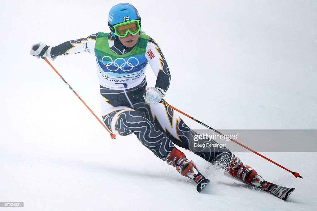Tanja Poutiainen of Finland competes during the Ladies Giant Slalom first run on day 13 of the Vancouver 2010 Winter Olympics at Whistler Creekside...