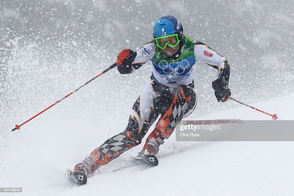 Tanja Poutiainen of Finland competes during the Ladies Slalom second run on day 15 of the Vancouver 2010 Winter Olympics at Whistler Creekside on...