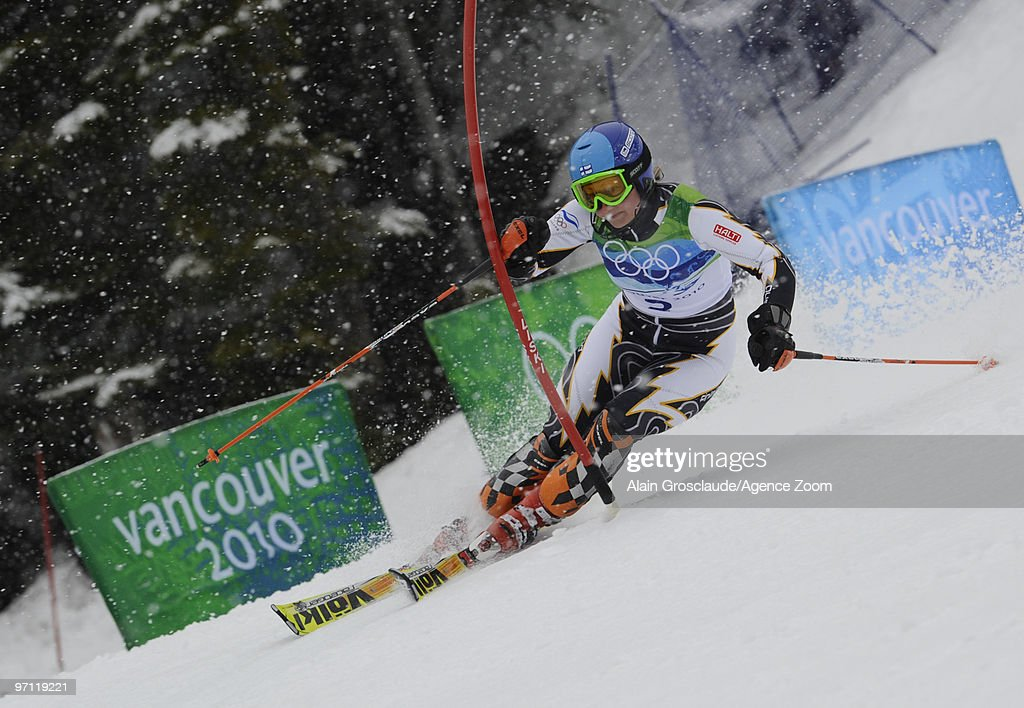 Tanja Poutiainen of Finland during the Women's Alpine Skiing Slalom on Day 15 of the 2010 Vancouver Winter Olympic Games on February 26 2010 in...