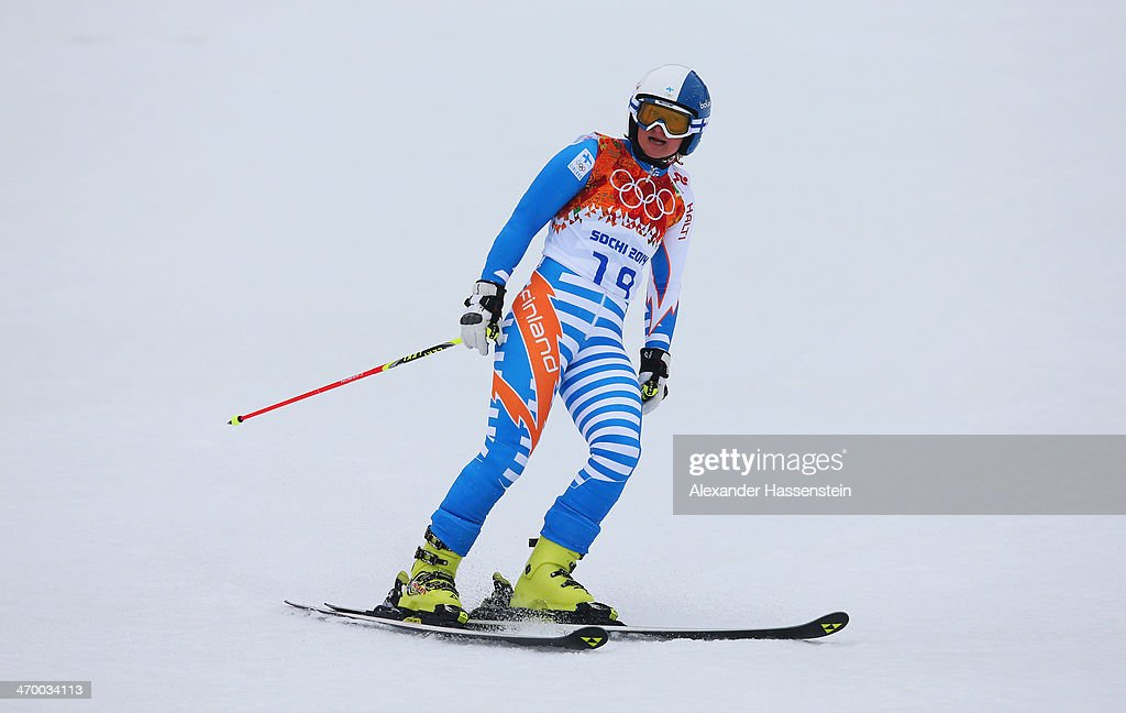 Tanja Poutiainen of Finland finishes a run during the Alpine Skiing Women's Giant Slalom on day 11 of the Sochi 2014 Winter Olympics at Rosa Khutor...
