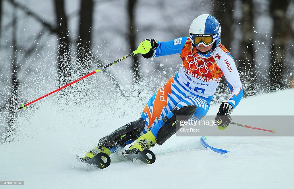 Tanja Poutiainen of Finland in action during the Women's Slalom during day 14 of the Sochi 2014 Winter Olympics at Rosa Khutor Alpine Center on...