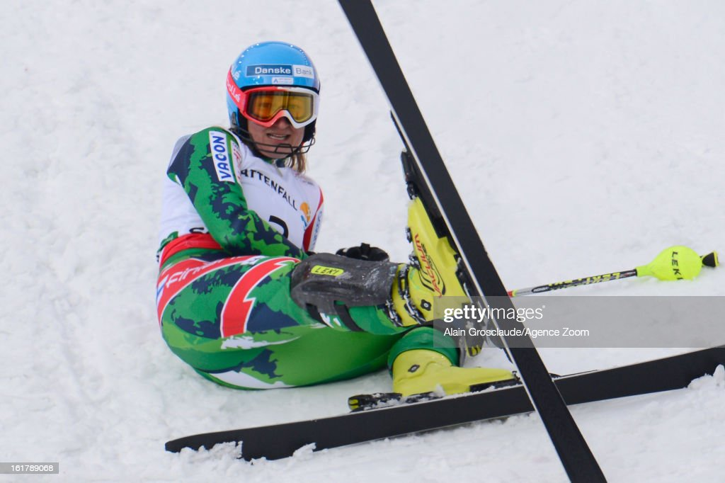 Tanja Poutiainen of Finland lies on the snow during the Audi FIS Alpine Ski World Championships Women's Slalom on February 16, 2013 in Schladming, Austria.