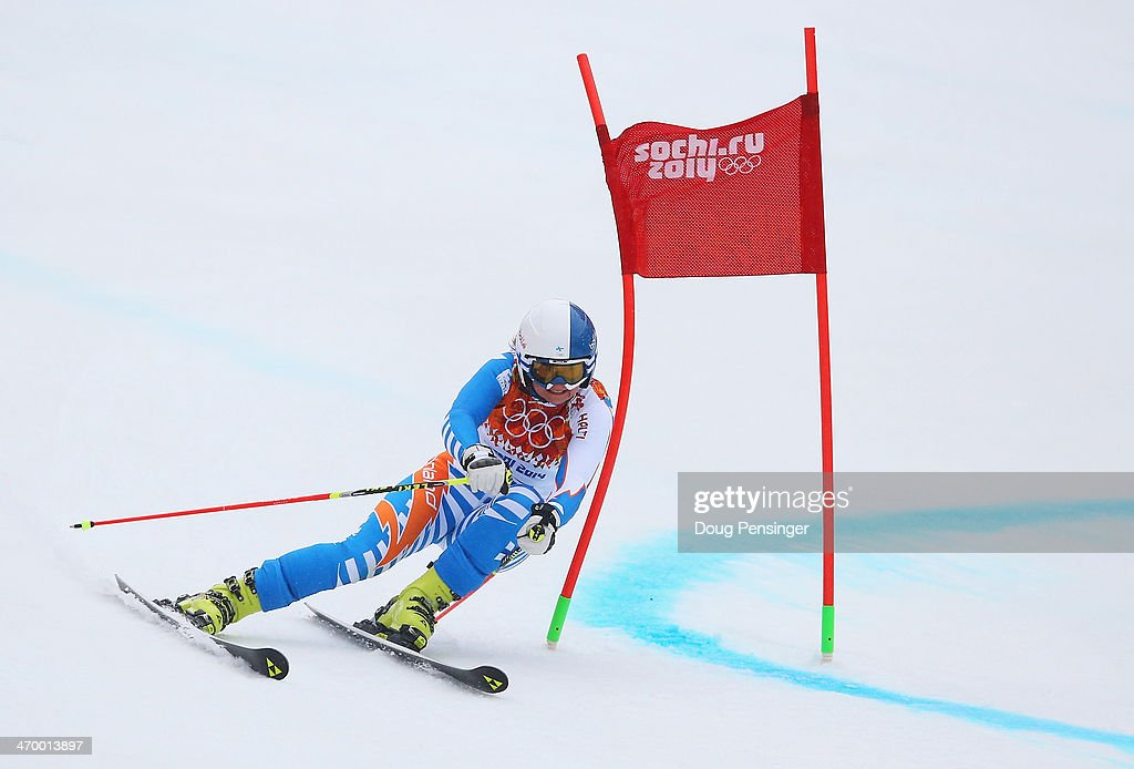 Tanja Poutiainen of Finland makes a run during the Alpine Skiing Women's Giant Slalom on day 11 of the Sochi 2014 Winter Olympics at Rosa Khutor...