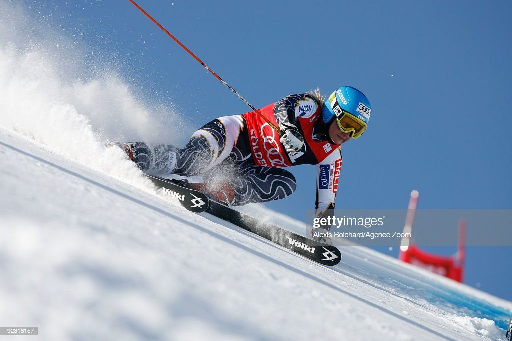 Tanja Poutiainen of Finland on her way to taking 1st place in the Alpine FIS Ski World Cup Women's Giant Slalom on October 24 2009 in Solden Austria