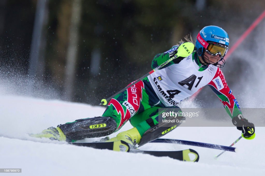 Tanja Poutiainen of Finland races down the course whilst competing in the Audi FIS Alpine Ski World Cup Slalom Race on December 29, 2012 in Semmering, Austria.