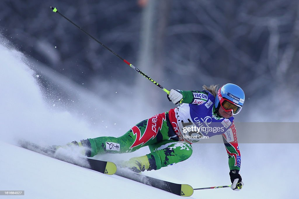 Tanja Poutiainen of Finland races down the course whilst competing in the Alpine FIS Ski World Championships giant slalom race on February 14 2013 in...