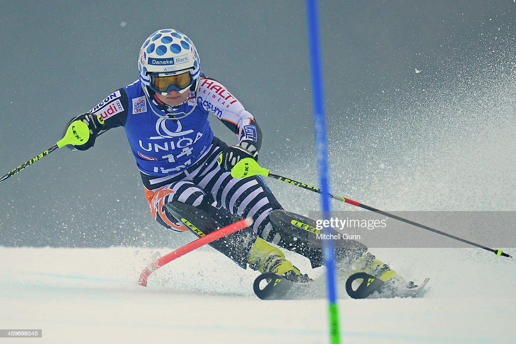 Tanja Poutiainen of Finland races down the course whilst competing in the FIS Alpine World Cup Slalom race on December 29 2013 in Lienz Austria