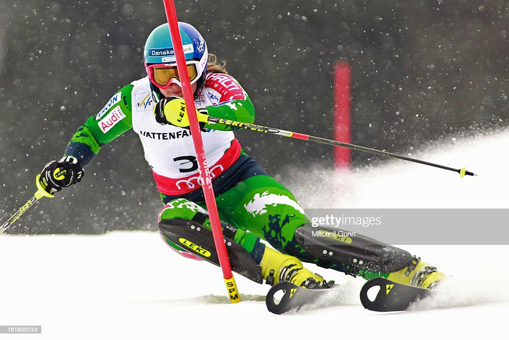 Tanja Poutiainen of Finland races down the hill during the Alpine FIS Ski World Championships slalom race on February 16, 2013 in Schladming, Austria,