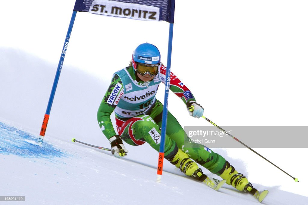 Tanja Poutiainen of finland races down the piste during the Audi FIS Alpine Ski World Giant Slalom race on December 9 2012 in St Moritz, Switzerland.