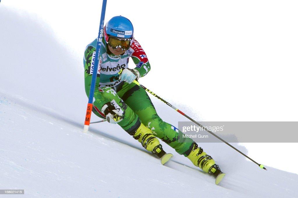 Tanja Poutiainen of finland races down the piste during the Audi FIS Alpine Ski World Giant Slalom race on December 9 2012 in St Moritz, Switzerland.