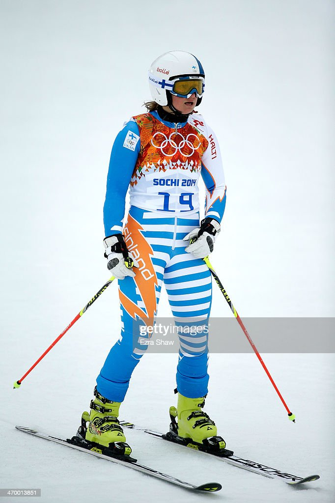 Tanja Poutiainen of Finland reacts after a run during the Alpine Skiing Women's Giant Slalom on day 11 of the Sochi 2014 Winter Olympics at Rosa...