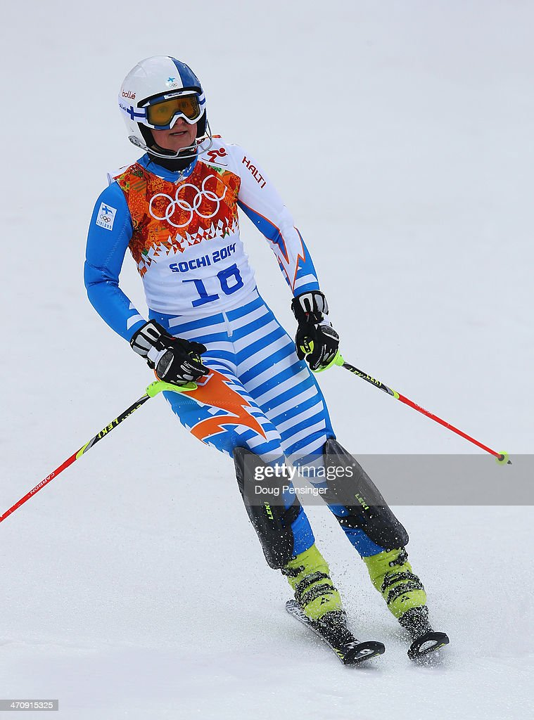 Tanja Poutiainen of Finland reacts after her first run during the Women's Slalom during day 14 of the Sochi 2014 Winter Olympics at Rosa Khutor...