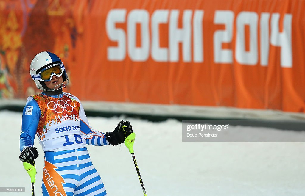 Tanja Poutiainen of Finland reacts after her second run during the Women's Slalom during day 14 of the Sochi 2014 Winter Olympics at Rosa Khutor...