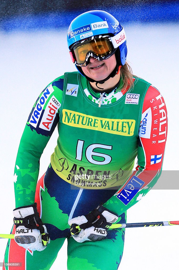 Tanja Poutiainen of Finland reacts as she skis to 10th place in the women's giant slalom at the Nature Valley Aspen Winternational Audi FIS Ski World...