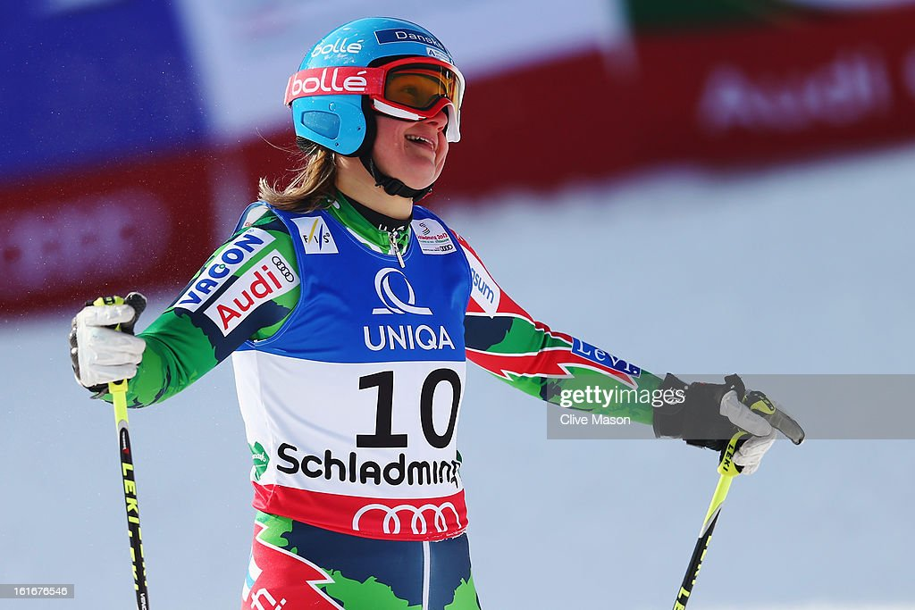 Tanja Poutiainen of Finland reacts in the finish area after skiing in the Women's Giant Slalom during the Alpine FIS Ski World Championships on...