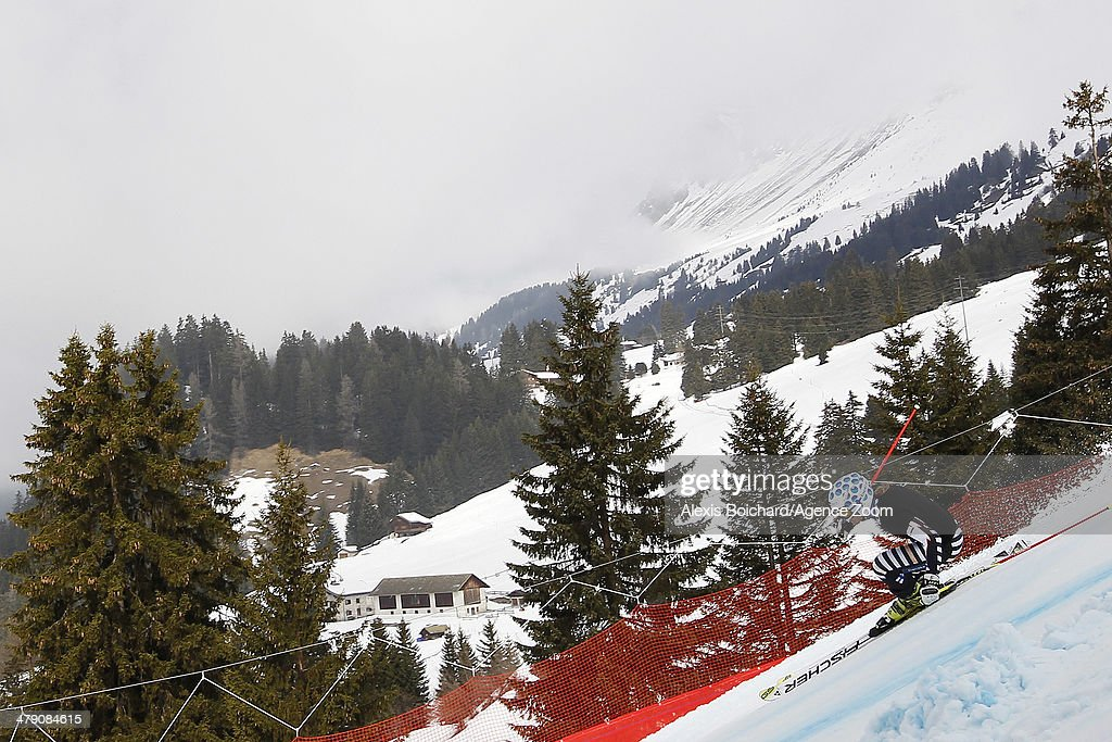 Tanja Poutiainen of Finland retires from skiing during the Audi FIS Alpine Ski World Cup Finals Women's Giant Slalom on March 16 2014 in Lenzerheide...