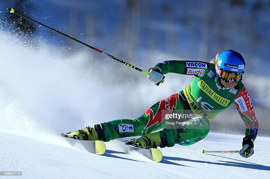 Tanja Poutiainen of Finland skis the first run of the women's giant slalom at the Nature Valley Aspen Winternational Audi FIS Ski World Cup at Aspen...