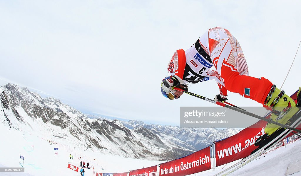 Tanja Poutiainen of Finland starts in the 2nd run at the women's giant slalom event of the Woman's Alpine Skiing FIS World Cup at the...