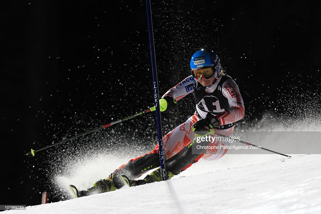 Tanja Poutiainen of Finland takes 1st place during the Audi FIS Alpine Ski World Cup WomenÕs Slalom on January 11 2011 in Flachau Austria