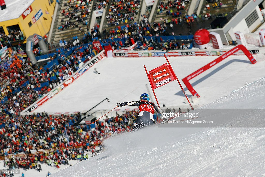 Tanja Poutiainen of Finland takes 1st place in the Alpine FIS Ski World Cup Women's Giant Slalom on October 24 2009 in Solden Austria