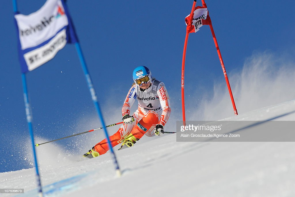 Tanja Poutiainen of Finland takes 2nd place during the Audi FIS Alpine Ski World Cup Women's Giant Slalom on December 12 2010 in StMoritz Switzerland